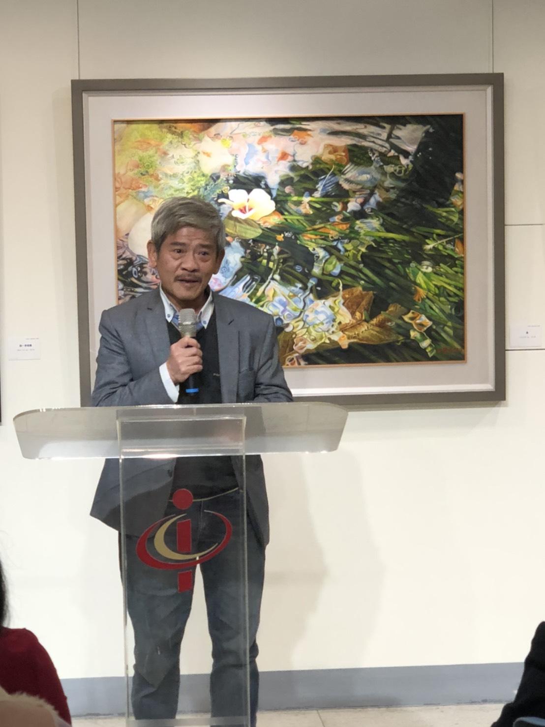 申學彥水彩個展開幕,台灣中部美術協會理事長廖本生致詞